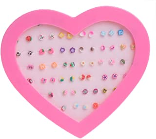 ballboU-36 Pairs Stud Earrings Mini Polymer Clay Cute Fruit Handmade For Girl Women# A Wonderful Gift for Ladies