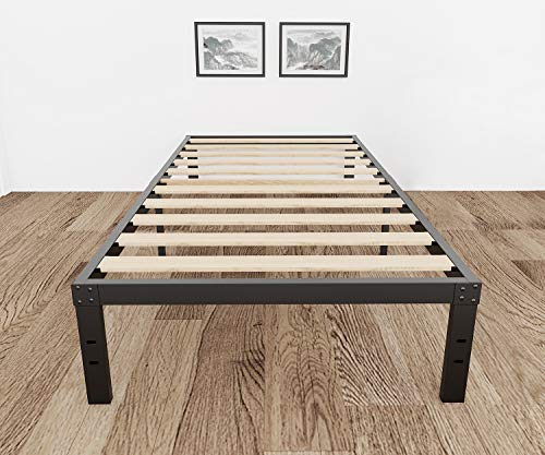 3800lbs Heavy Duty,14 Inch Steel & Wooden Slat Support Reinforced Platform Bed Frame,Mattress Foundation/No Box Spring Needed/Easy Assembly/Noise Free,Twin XL/Full/Queen/King/California King (Twin)