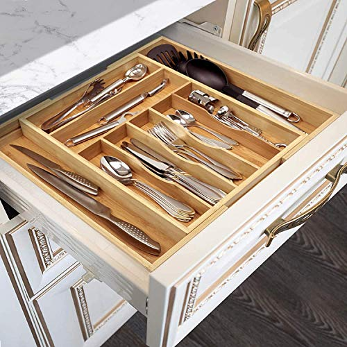 """Bamboo Kitchen Drawer Organizer - Expandable Silverware Organizer/Utensil Holder and Cutlery Tray (20""""-17.5"""", Natural)"""