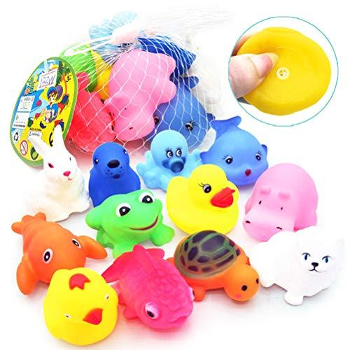 Hinder Juguetes de baño de animales, juego de 12 piezas de juguetes de baño de animales con sonido BiBiBi Baby Water Toys Set para niños, juego de playa, bañera, juguetes de regalo para bebés