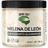 Melena de León Orgánico en Polvo - Nootrópico Natural 100% - Memoria y Enfoque | 50 g | BRAIN FOOD | Vegano | Certificado USDA Organic | Lions Mane Powder