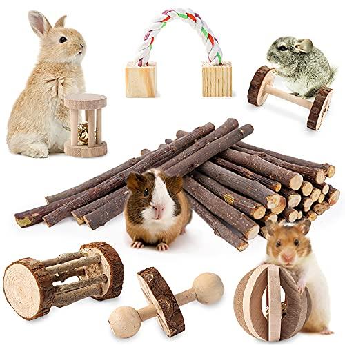 JanYoo Hamster Spielzeug, 7-teiliges Meerschweinchen Spielzeug aus Holz Apfelhölzer Lamellenball Set Hanteln für Kanichen Maus Chinchillas Kleintier