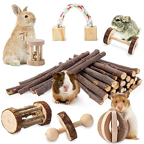 JanYoo Rabbit Chew Toys,Natural Wooden Hamster Toys Guinea Pig Teeth Care Molar Exercise Toys Accessories for Rabbit Bunny Syrian Hamster...