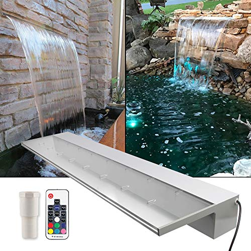 APONUO Lighted Waterfall Pool Fountain 35.4' RGB LED Pool Fountain Acrylic 7 Color Remote Changing Spillway for Sheer Descent