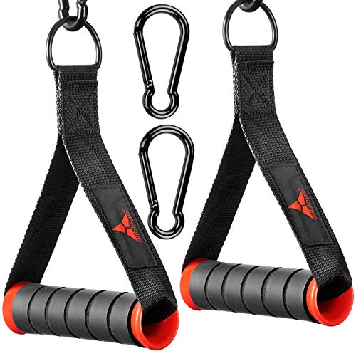 allbingo Solid Gym Handles for Cable Machine Resistance Bands, Ultra Heavy Duty Comfortable Sturdy Exercise Handle Grips Attachment with Large Clips for Pulley LAT Pulldown System (Black/Red X2)