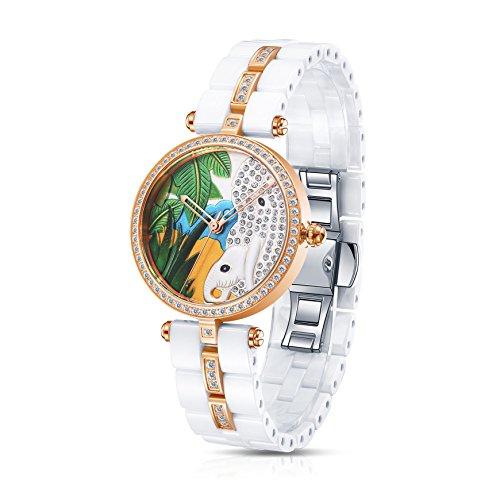 Time100 Lujo Mujeres Joyería de Diamante Correa de cerámica Reloj de Cuarzo Mujer con Elefante