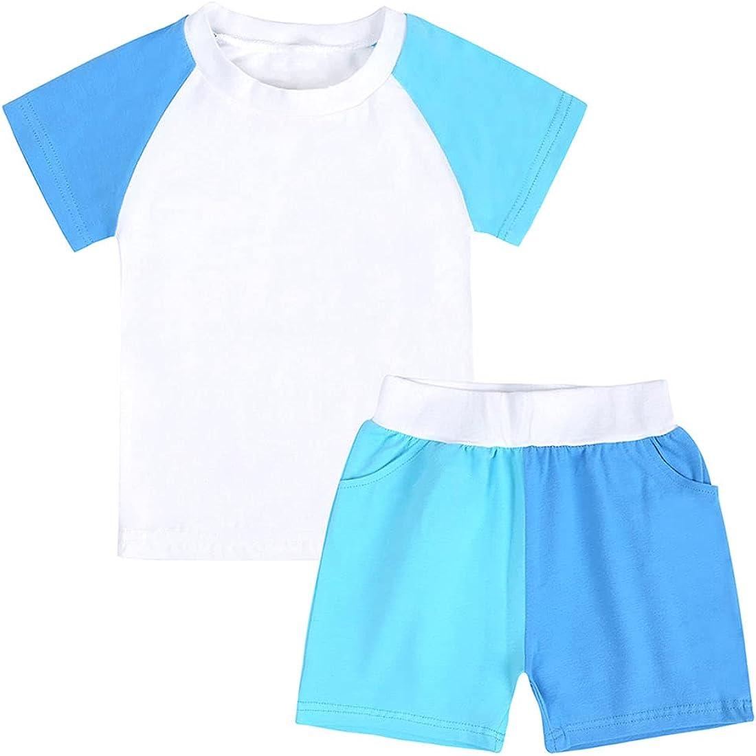 Baby Boys Girls Cotton Summer Shorts Set, Toddler Kids Color Contrast Short Sleeve Tee + Shorts 2PCS Clothes Set