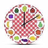 Reloj de pared Vegetariano Cocina Art Decor Silencioso reloj de barrido Reloj Veganos Foodie Regalo