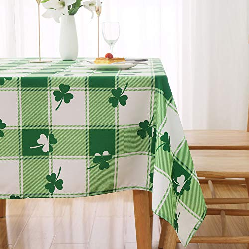 MikiUp St. Patrick's Day Checkered Rectangle Tablecloth - Waterproof and Washable Holiday Green Shamrock Table Cloth Decorative Table Cover for Outdoor, Indoor Party Dining Room, 60 x 120 Inch