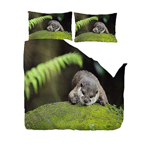 ZLLBF Bettwäsche 155x220 Otter Weiche Und Angenehme Mikrofaser Schlafkomfort - 1 Bettbezug Mit Reißverschluss + 2 x Kissenbezüge