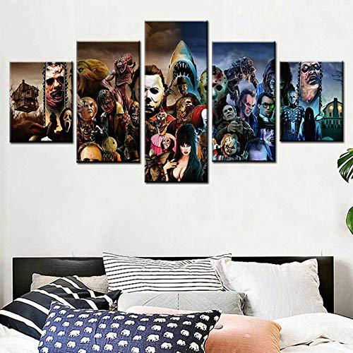 Pintura de lienzo 5 pintura de póster de impresión de película de alta definición sala de estar decoración del hogar pintura de pared,Pintura sin marcoCJX3875-40x60cmx2, 40x80cmx2, 40x100cmx1