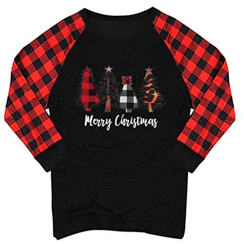 KUDICO Weihnachten Tops für Damen,Plaid Langarmshirt Christmas Elch Print T-Shirt Oberteile,Rundhalsausschnitt Raglan Sweatshirt Bluse(D, XXL)