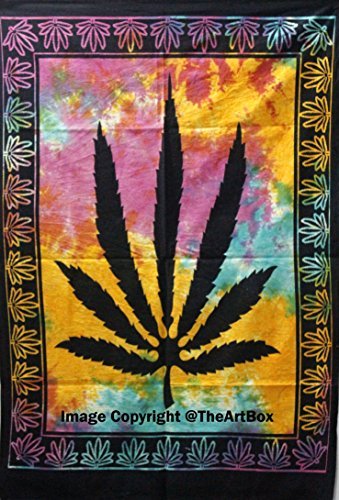 The Art Box Marijuana Leaf Poster Cannabis Leaf Poster Hippie Decor Pot Flag Tapestry Wall Hanging Dorm Collage Multi…