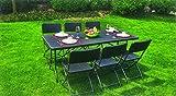 Juego de mesa y 6 sillas plegables plegable de jardín de terrazo rattan de wengué, color marrón