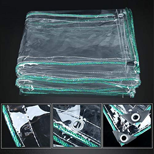 Clear Waterproof Cover Tarp with Eyelets,Thicken 0.55mm PVC Glass Clear Tarpaulin,Tearproof Weatherproof Protection Boat Tarp,for Gardens,Greenhouses Plants Winter Covers (1.4x2m/4.5x6.5ft)