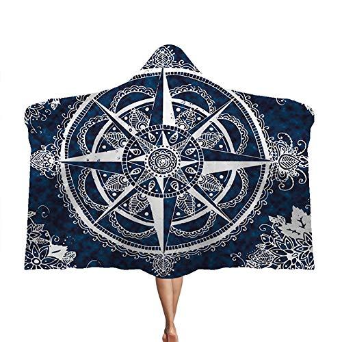 Manta con capucha Mandala, capa gruesa Manta doble de felpa para niños Brújula mágica suave y cálida,E,130 * 150cm