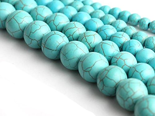 Ronde vorm Stone Losse Kralen Edelsteen DIY Armband Ketting voor Sieraden Maken 6mm Synthesis Blue Turquoise