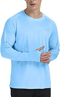 UPF 50+ Long Sleeves Shirt for Men, Quick Dry Sun Protection Workout Swim Running Hiking Fishing Outdoor T Shirts