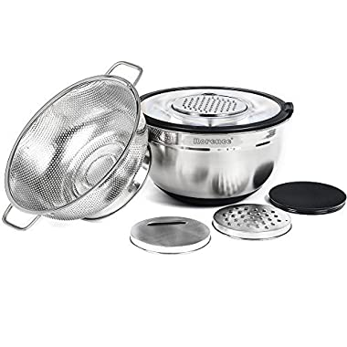 Rorence Stainless Steel Non-slip Mixing Bowl with Transparent Lid & 3 Graters Set, with a Free Colander - Black
