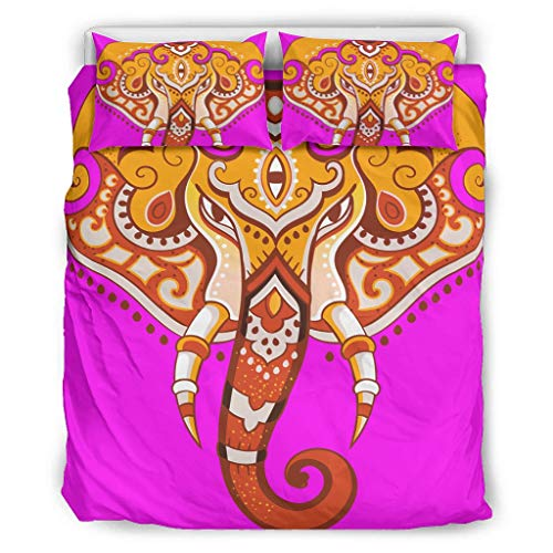 STELULI Bedding Cover Sets Elephant Lightweight - Bed Set 3 Piece for Girls Bedroom white 104x90 inch