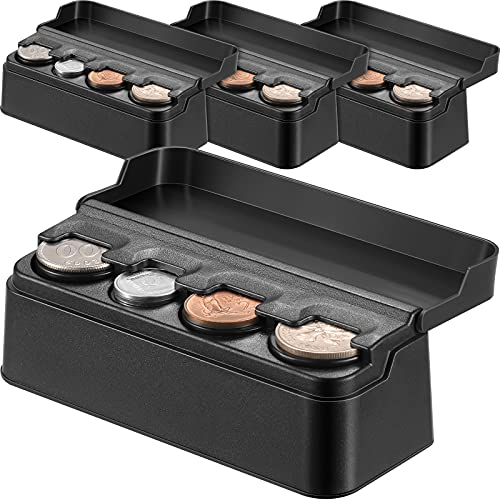 4 Pieces Coin Holder for Car Coin Case Storage Change Holder Coin Box Car Cup Holder Coin Money Storage Dispenser with Most Car Trucks Accessories