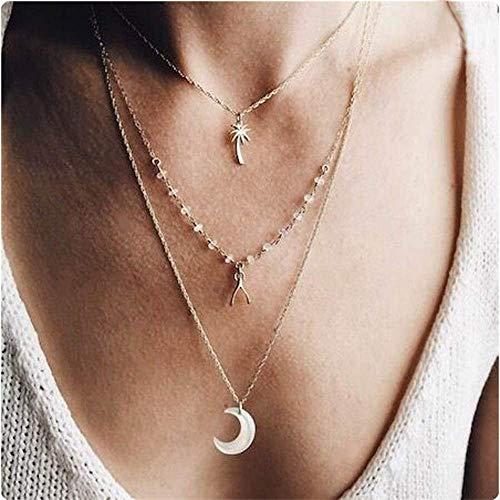 2020 Nuevo Collar Creativo Multicapa De Aleación De Árbol De Coco con Colgante De Luna, Collar De Todo Fósforo, Joyería para Mujer