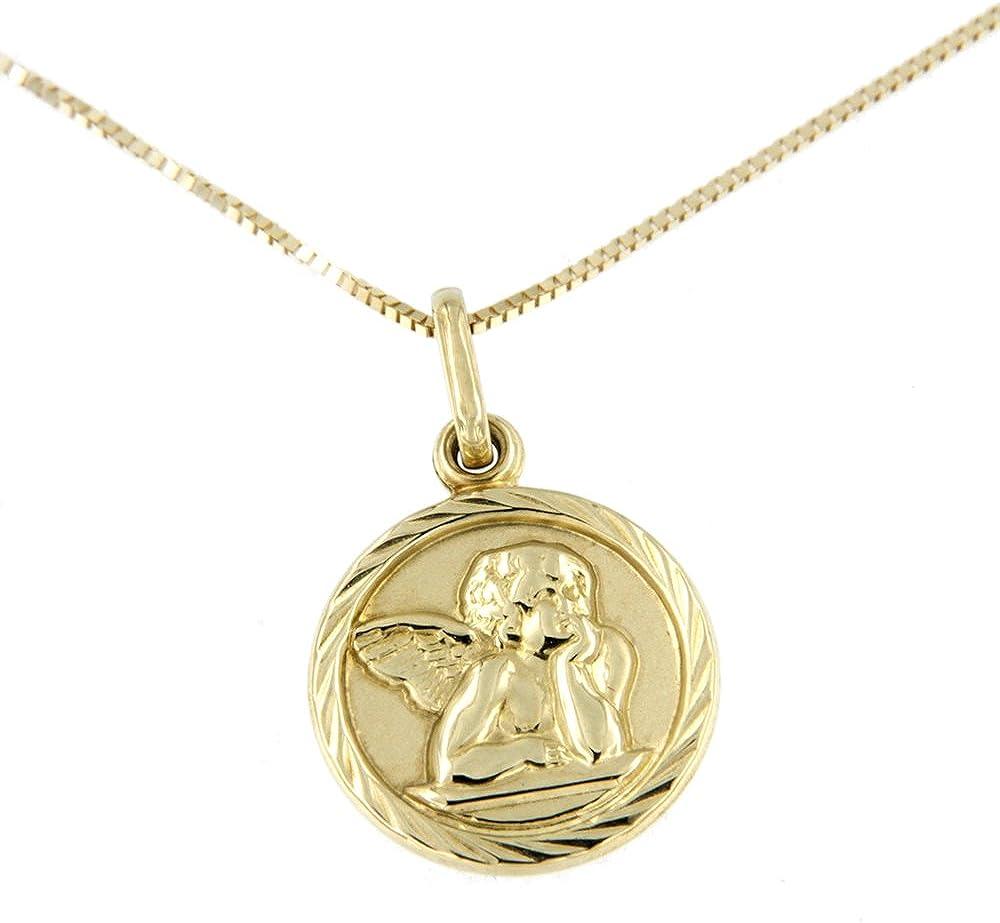 Lucchetta - catenina oro giallo 9 ct/375 (1,32 gr) con pendente medaglia di raffaello 2P2372MLA