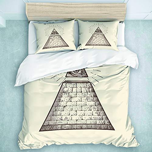 SUHOM Bedding Juego de Funda de Edredón,Conspiración Símbolo de la pirámide del Ojo Que Todo lo ve Nuevo Orden Mundial Bosquejo Teoría Dólar,Microfibra (Cama 200x200 + Almohada 50X80),Double