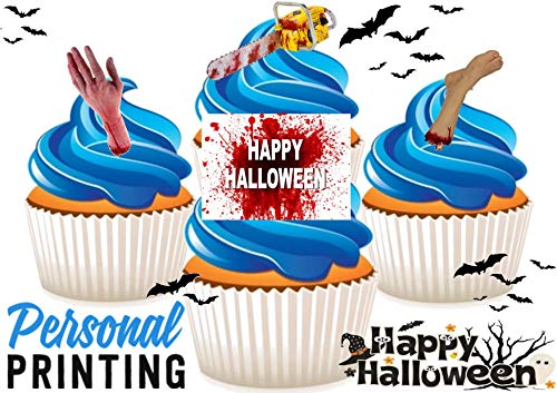 PP - Halloween Gelukkig Bloedige Hand Kettingzaag Mix 12 Eetbare Stand up Premium Wafer Card Cake Toppers Decoraties