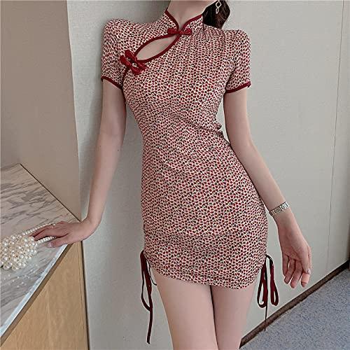 CIDCIJN Vestido Chino - Mujeres Retro Floral Print Cheongsam, Lady Elegant Sweet Red Qipao Sexy Slim Mini Dress Nightclub Vintage Bodycon Party Dresses, Rojo, S