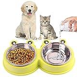 🐾 【Construction Double Couche】Double gamelle chien chat en acier inoxydable de haute qualité qui peuvent être sortis directement, ce qui est pratique pour le nettoyage . Le bol en acier inoxydable peut également être utilisé seul, deux bols deviennen...