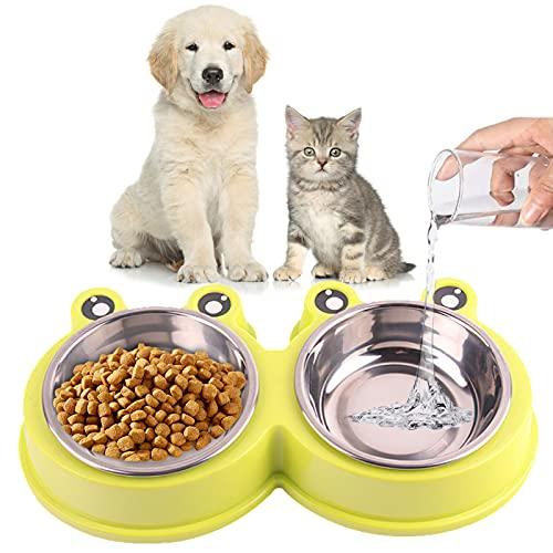 Ciotola Doppia Alimentazione,Ciotola per Gatti in Acciaio Inossidabile,Ciotola Animali Antiscivolo,Applica a per cani / gatti / piccolo animale Rimovibile Doppia Alimentazione Ciotola (verde)