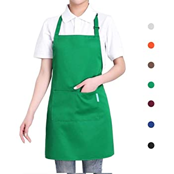 esonmus Cooking Apron Adults Polyester Kitchen Apron with Adjustable Neck Belt and 2 Pockets for Baking Gardening Restaurant BBQ for Men and Women-Green