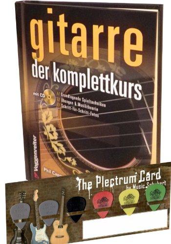 KOMPLETTKURS GITARRE MIT CD und 6 ORIGINAL JIM DUNLOP PLEKTREN auf praktischer Plektrum-Card von Musik-Schubert - 256 Seiten, vierfarbig, Hardcover, Spiralbindung