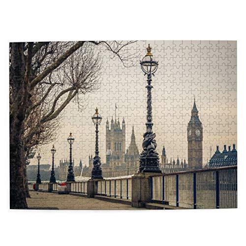 DAHALLAR Mittlere Größe Jigsaw-Puzzles 500 Stücke,London Big Ben und Houses of Parliament Der Fluss mit Retro Laternen Landschaft, Lustig Familienspiel Hängende Heimdekoration,20.4' x 15'