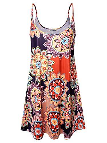 Plus Size Women's Sundress Casual Spaghetti Loose Swing Slip Summer Dress (Colorful Sun Flower,1X)