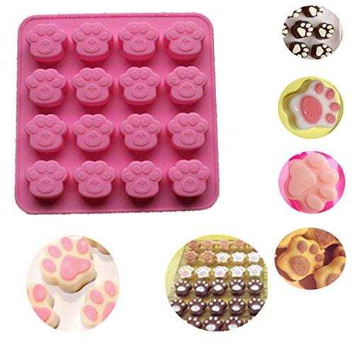 IMJONO Moules à gâteaux, 1PC Chat Patte Imprimer Silicone Cookie Cake Candy Moules au Chocolat Savon Moule à Cubes de Glace (1 PC, Rose)