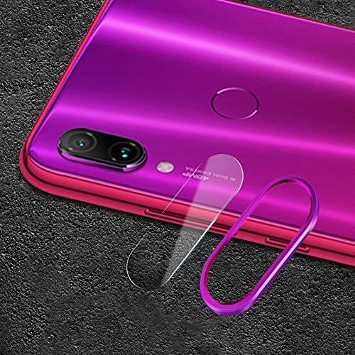 Goede Scratchproof Mobiele Telefoon Metalen Achterste Camera Lens Ring + Achterste Camera Lens Gehard Beschermende Film Set voor Xiaomi Redmi Note 7 (Zwart) Moonbaby Paars