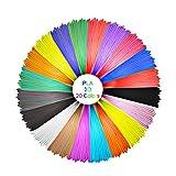 GEEETECH PLA Filamento 1.75mm, 3D Pen Filamento PLA, paquete de línea de impresión 3D con 20 tipos de colores saturados, incluyendo 5 tipos de colores fluorescentes