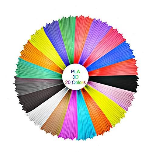 3D Stift filament PLA, GEEETECH PLA Filament 1,75mm, 3D Druck Filament Paket mit 20 unterschiedlichen Farben, einschließlich 4 verschiedenen fluoreszierender Farben