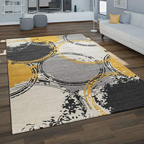 Paco Home Alfombra Salón, Motivo Geométrico Moderno En Tonos Grises Y Mostaza, tamaño:120x170 cm, Color:Amarillo 2