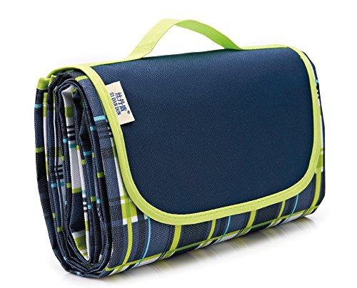 KiKi Monkey Picknickdecke Campingdecke wärmeisoliert Reisedecke Stranddecke Isomatte wasserdicht Größe 150x200 cm (Blau,grün)