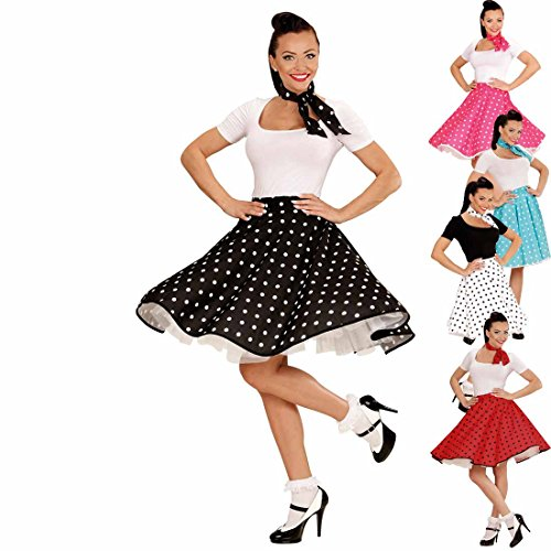 Amakando Tellerrock mit Halstuch 50er Outfit schwarz-weiß Gepunkteter Swing Rock Rock'n'Roll Rockabilly Party Petticoat mit Polka dots