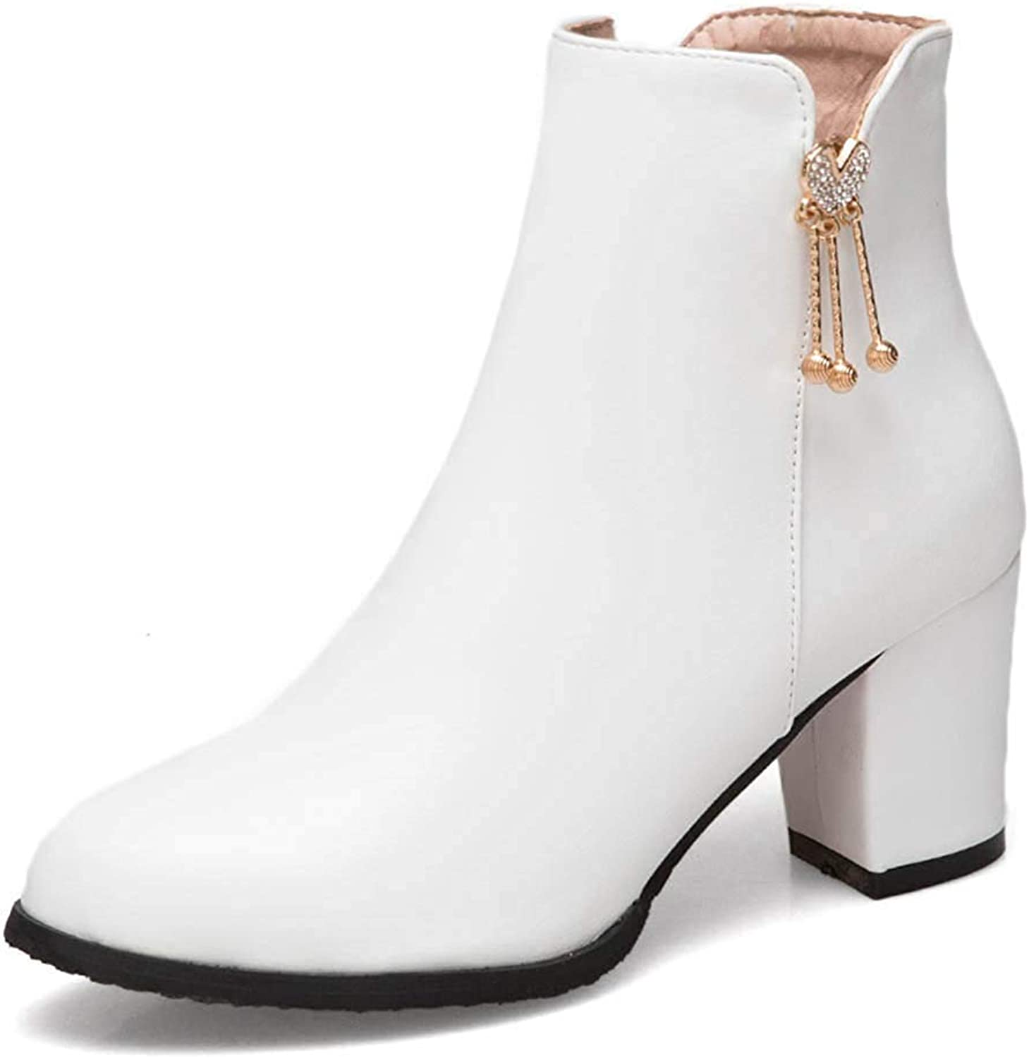 Unm Women's Rhinestone Pendant Mid Chunky Heel Round Toe Dress Ankle Boots with Zipper