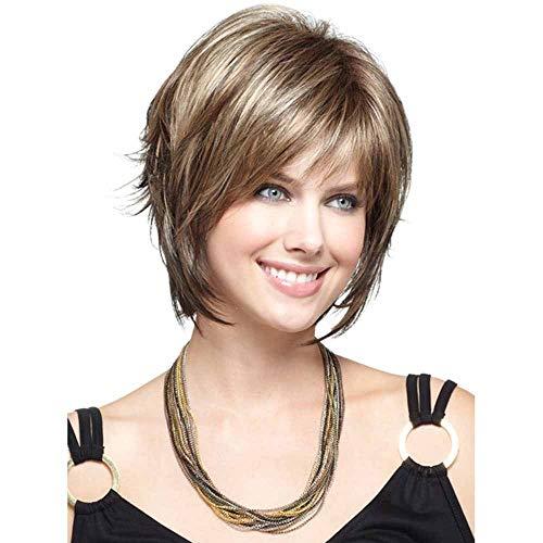 WANGZ Court Droite Perruque Super Naturelle Blonde Charme Les Femmes Curls onduleux Mode synthétique résistant à la Chaleur comme de véritables Cheveux Humains