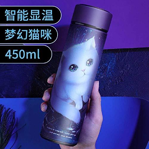 TUOLUO 450 Ml Thermoskanne Vakuumflaschentemperaturanzeige Edelstahlkessel Reisekaffeetasse Teetasse Isolierbecher <50 ml/Lila