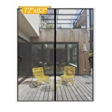 Magnetic Screen Door 72 x 83 inch, DIXLAMN Magnet Screen Door Mosquito Door Net with Heavy Duty Fits Door Size up to 70'x81' Max for Entry Door /Exterior Door /Interior Door /Kitchen Door/Patio Door