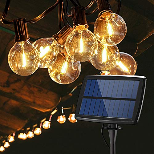 Solar Led String Lights, 18FT 12 LED Bulbs Waterproof G40 Solar Powered String Lights, 4 Modes for Party Patio Garden Wedding Xmas Decoration
