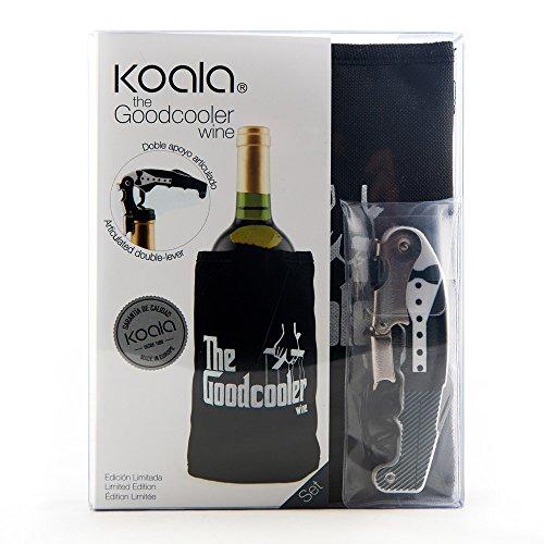 koala The Good Cooler Wine Set de Manches rafraichisseurs et Tire-Bouchon, Plastique et Polyester, Noir, 15 x 4 x 19 cm, Lot de 2