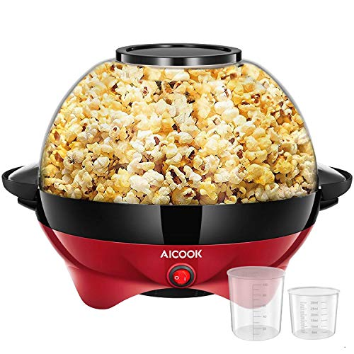 AICOOK Electric Hot Oil Popcorn Popper Machine, 6-Quart/24-Cup 800W Fast Heat-up Popcorn Maker with Stirring Rod, Large Transparent Cover for Serving Bowl and Convenient Storage, Easy To Clean, Red